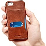iPhone SE Case, Benuo [Retro Series] 100% Genuine Leather Back cover with 1 Card Slot for iPhone 5/5s(Brown)