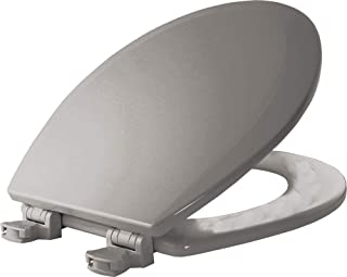 product image for BEMIS 500EC 062 Toilet Seat with Easy Clean & Change Hinges, ROUND, Durable Enameled Wood, Ice Grey