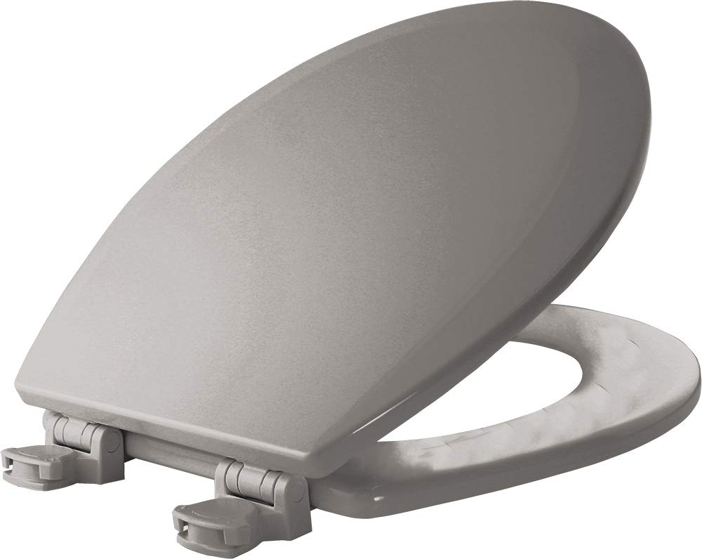 Bemis 500EC 162 500EC162 Molded Wood Round Toilet Seat with Easy Clean and Change Hinge, Silver