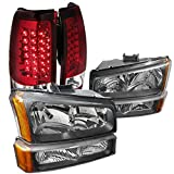 Chevy Silverado Pickup Black Headlights+Bumper Lamps+Red Lens LED Tail Lights