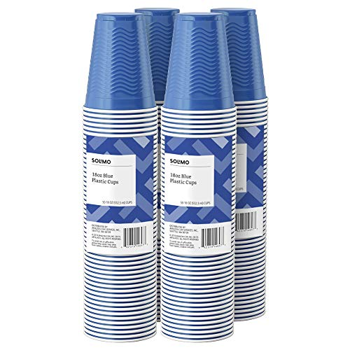 Amazon Brand - Solimo 18oz Disposable Plastic Party Cups, 200 Count, Blue