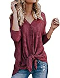 Miskely Women's Waffle Knit Tunic Tops Tie Knot Henley Tops Blouse Casual Loose Bat Wing Plain Shirts (Medium, Red)