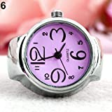 Perfect Womens Girl Fancy Exclusive Steel Round Elastic Quartz Finger Ring Watch LOVE STORY (Purple)