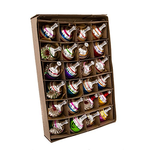 Kurt Adler Early Years Mini Glass Ornament Set of 24 - Ball and Reflector -