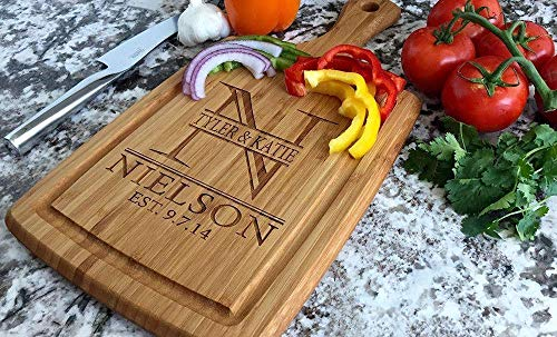 Personalized Wedding Gifts Cutting Board - Wood Cutting Boards, Also Bridal Shower and Housewarming Gifts (9 x 17 Bamboo Rectangular with Grooves, Nielson Design)
