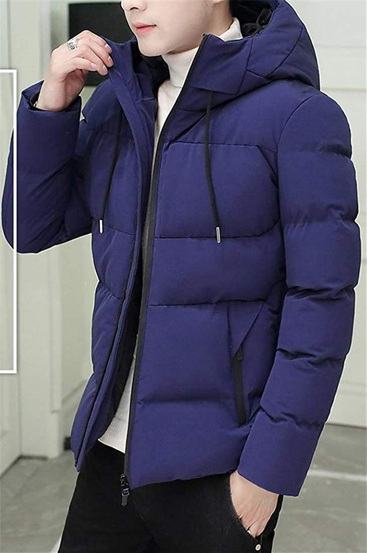 Etecredpow Mens Quilted Patches Outdoor Thicken Winter Hooded Parka Coat Jacket