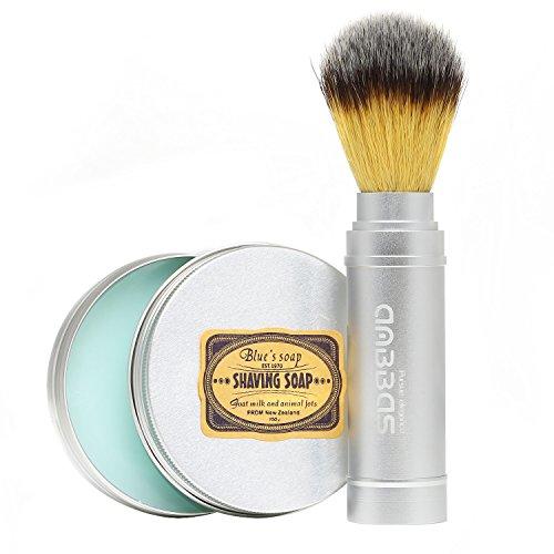 Travel Shaving Brush Set, 2IN1 Anbbas Shaving Brush Faux Badger Hair Design with Aluminum Frame Long Handle and Shaving Soap 100g in Aluminum Bowl,Must Have for Travel Wet Shaving Gift (Silver Long Handle)