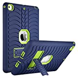 ULAK iPad 9.7 2018/2017 Case, Heavy Duty Kickstand Shockproof Kidproof Protective Case for Apple iPad 9.7 inch (2017/2018)-Navy Blue/Lime Green