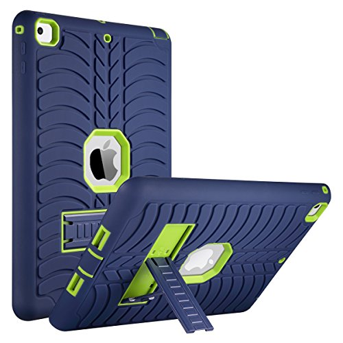 ULAK iPad 9.7 2018/2017 Case, Heavy Duty Kickstand Shockproof Kidproof Protective Case for Apple iPad 9.7 inch (2017/2018)-Navy Blue/Lime Green by ULAK