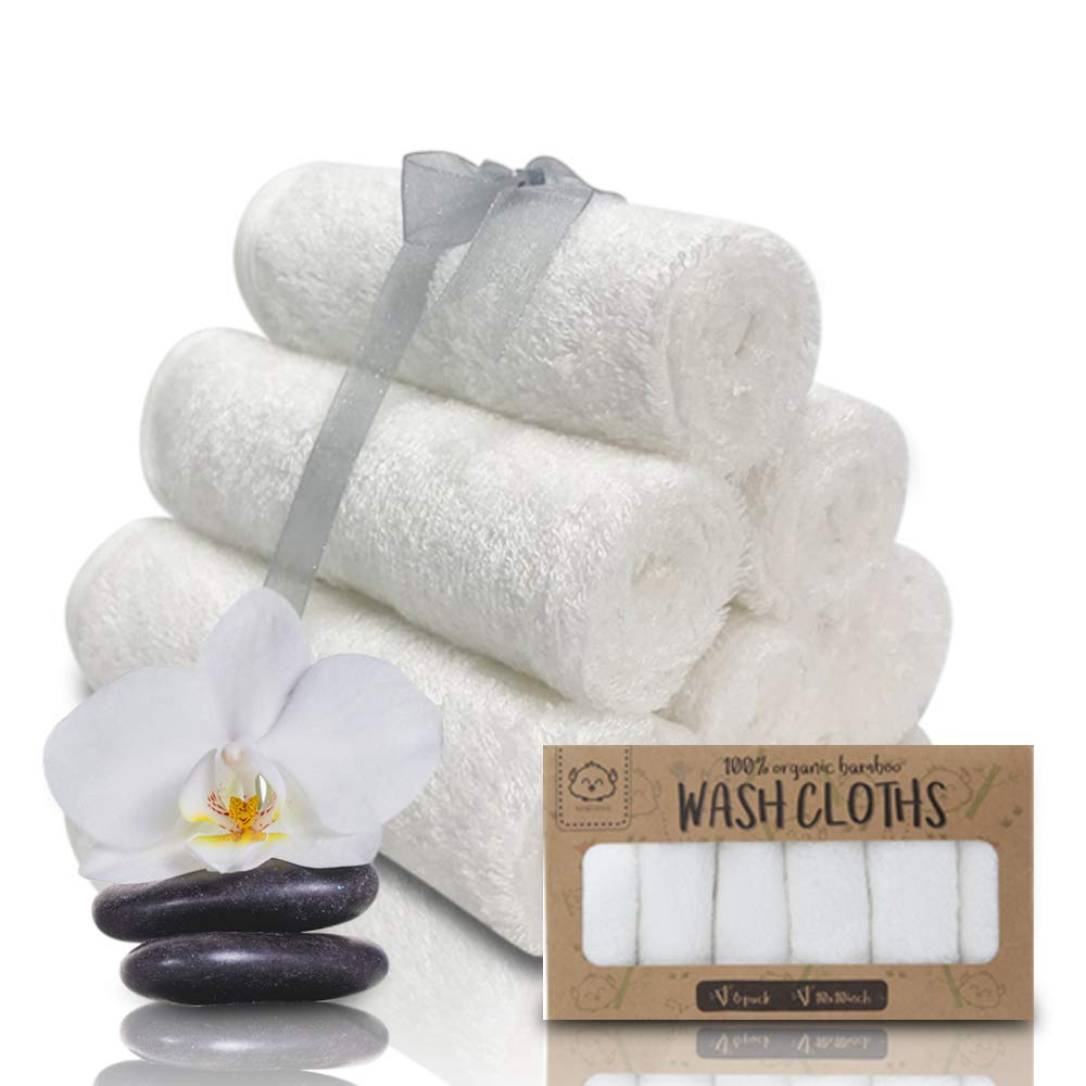 Baby Washcloths - White Bamboo Washcloths Towel - Soft Organic Baby Washcloth for Motherhood - Face Towel for Baby, Adult and Infant - Hypoallergenic, Anti Bacterial Towels - Best Baby Bath Gift Set KeaBabies