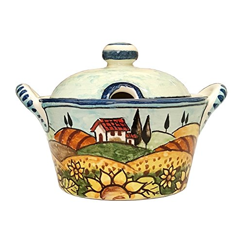CERAMICHE PARRINI - Italian Ceramic Art Sugar - Cheese Bowl Pottery Decorated Landscape Tuscan Sunflower Hand Painted Made in ITALY