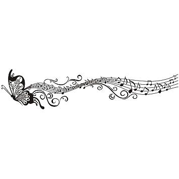 volador elegante msica mariposa patrn vinilo vinilos decorativos arte pegatina de pared moda diseo diy desmontable