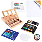 Acrylic Painting Set, 44pcs Ohuhu Artist Set with Wood Table-Top Easel Box, Art Painting Brushes, Acrylic Paint Tubes, and Acrylic Painting Pads for Artist Students Beginners