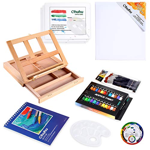 Acrylic Painting Set, Ohuhu 44pcs Artist Set with Wood Table-Top Easel Box, Art Painting Brushes, Acrylic Paint Tubes, and Acrylic Painting Pads for Artist Students Valentine