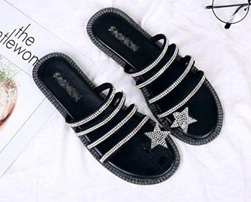 Mot Étoiles Slipper black Portant Pieds Zhhzz Mesdames Fond en one star avec Antidérapant Confort Nouvelle Clip Cool Drag Toe Un Plat Mode Plein Diamant LIANGXIE Air wa8Y4vxvq