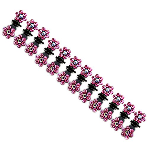 12pcs Crystal Rhinestone Assorted Bangs Mini Hair Claw Clip Hair Pin Flower Accessories for Girl Women Baby