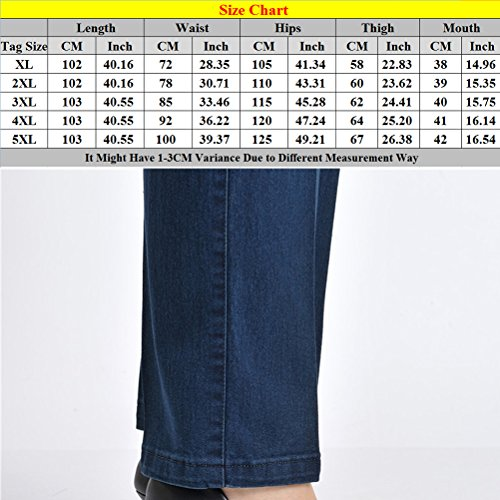 Xxxxxxl Aged Womens Elasticizzati Blue Vita Ladies Mother Straight Donna Middle Jeans Zhhlaixing Pants Alta Embroidery Pantaloni TqdxAEE