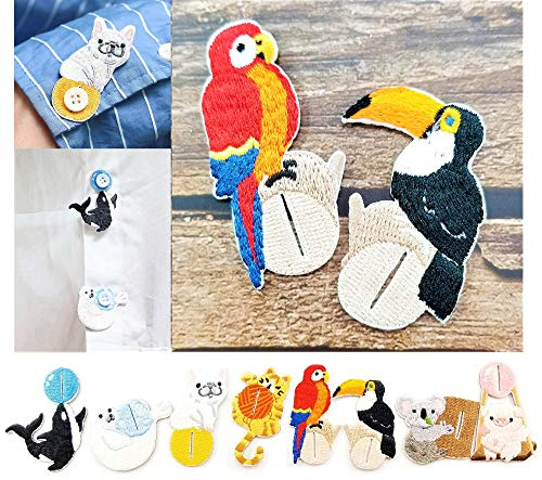 (2 Pieces Embroidered Patches Shirt Button Accessories Various DIY Cloth Art Embroidery Decoration Super Cute Fashion Stylish Accessories for Kids and Adult (Scarlet Macaw & Toco Toucan))