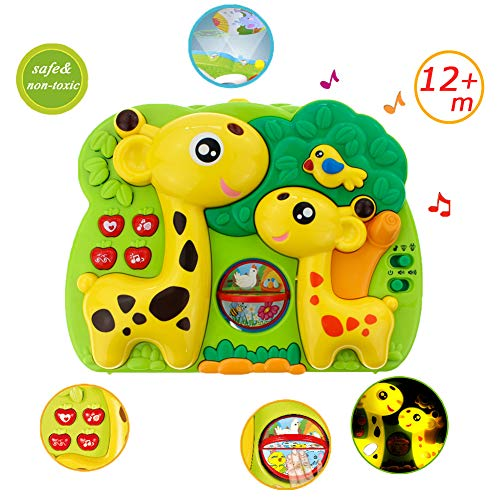 - Giraffe Dream Soother Crib Toy - INvench 2 in 1 Nightlight Sleep Soother Slumber Buddies with Dual Projection and Melodies Christmas Gift (Yellow)