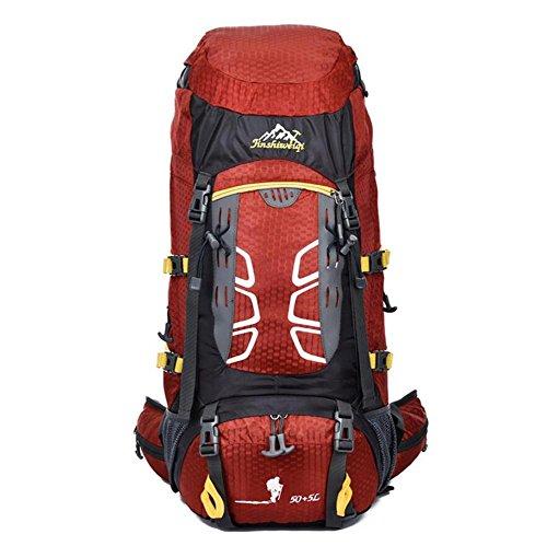 55L Mochila Hombres Mujeres Profesionales Mochilas Bolsas de alta calidad Mochila Mochila bolsa de viaje , orange Red