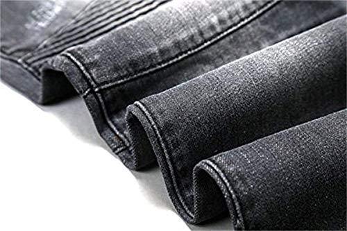 Destroyed Casual Vintage Da Uomo Grau Slim Look Stile Denim Jeans Fit Biker Giovane Pantaloni nU1wqxI77