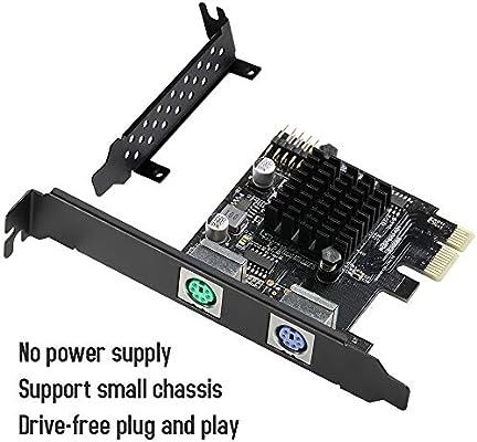 MZHOU Tarjeta PCIe PS2 2 Puertos, Tarjeta de expansión de Controlador PCIe a Dos PS2, Puede conectar un Teclado, Mouse, Impresora, Lector de Tarjetas, ...