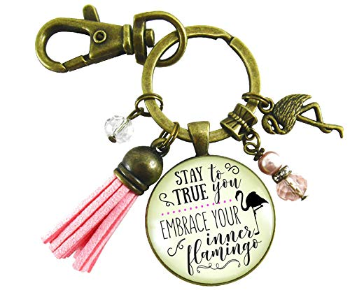 Flamingo Keychain Stay True To You Pendant Glam Quote Tropical Inspired Fun Novelty Jewelry Pink Tassel (Flamingo Antique Brass)