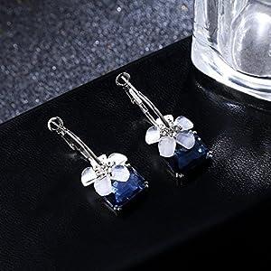 s925 Silver Needle Crystal Creative Geometric Earrings earings Dangler Eardrop Camellia 58