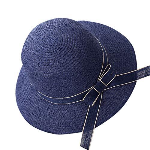 Benficial Women's Big Brim Sun Hat Foldable Bowknot Straw Hat Summer Beach Hat Navy ()