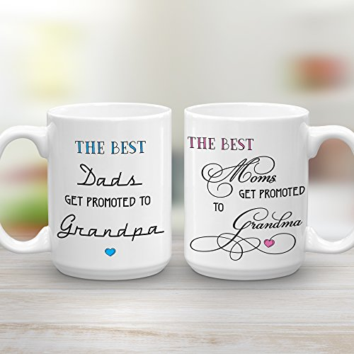 The Best Moms Get Promoted to Grandma and The Best Dads Get Promoted to Grandpa, Mug Set for the New Grandparents, 2 15 oz (Baby Shower Coffee)