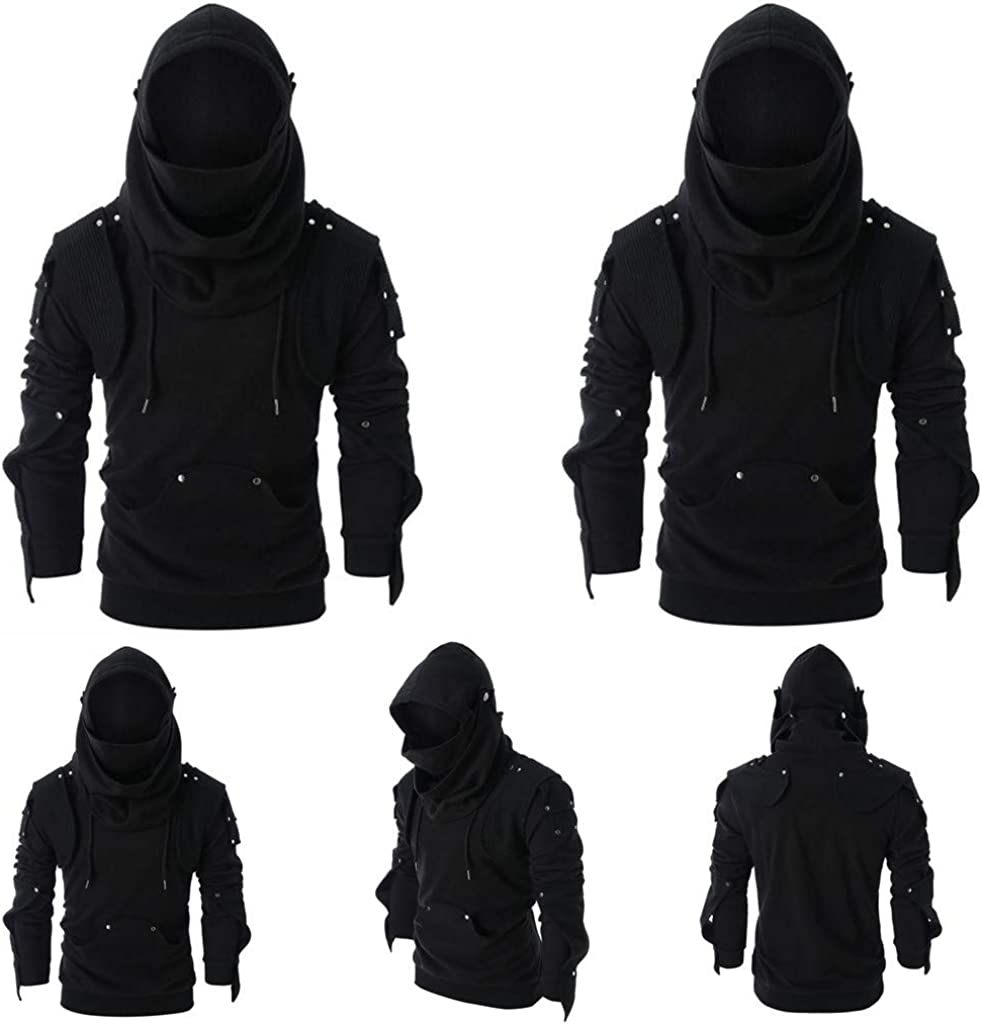 Dainzuy Mens Arthur Knight Hoodie Medieval Armor Sweatshirt Long Sleeve Hooded Jacket Coat Outwear Costume