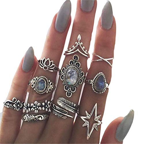 Myhouse Ancient Silver Color Vintage Crystal Knuckle Rings Set Finger Rings Women Accessories, 11Pcs/Set