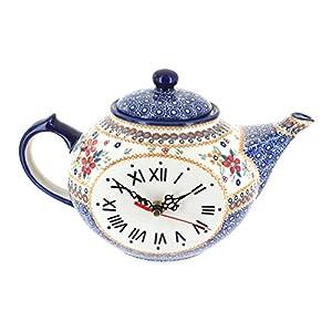 Blue Rose Polish Pottery Red Daisy Clock Jug