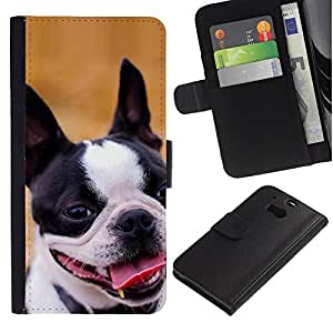 EuroCase - HTC One M8 - Staffordshire Bull Terrier Boston dog - Cuero PU Delgado caso cubierta Shell Armor Funda Case Cover
