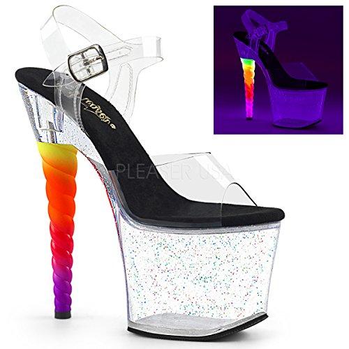 Pleaser Women's Unicorn-708MG Ankle-Strap Sandal Clear-Black/Clear