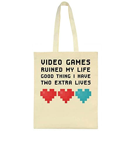 Video Games Ruined My Life Good Thing I Have Two Extra Lives Tote Bag   Amazon.co.uk  Shoes   Bags 872f4e663be94