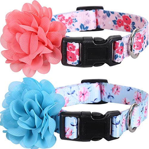 2 Pack Dog Collar Floral with Removable Flower Adjustable Nylon Pet Collars Large