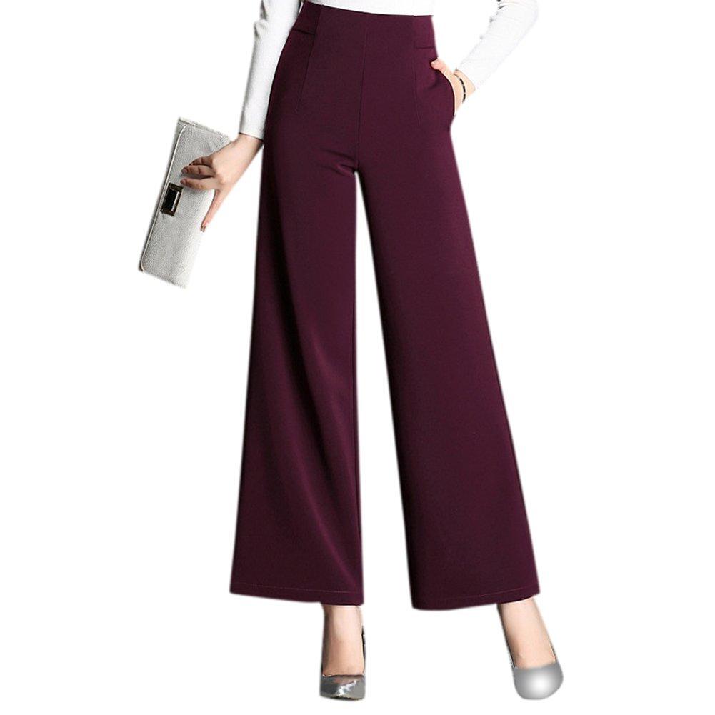 DRASAWEE Women's Cotton High Waist Plain Wide Leg Pants Palazzo Trousers LQ01883-2-8
