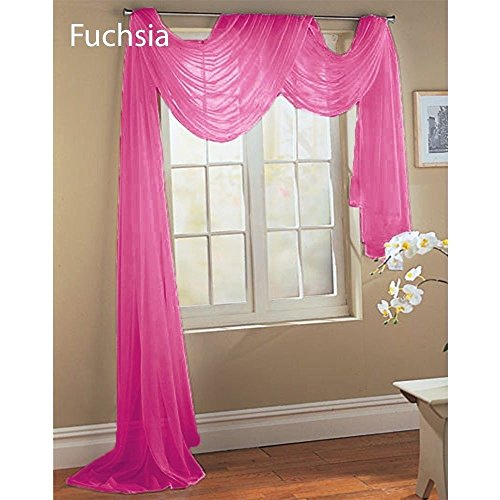 Gorgeous Home 1 PC SOLID HOT PINK SCARF VALANCE SOFT SHEER VOILE WINDOW PANEL CURTAIN 216″ LONG TOPPER SWAG