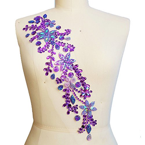 Pure Handmade 10x42cm Bright Crystal Patches Sew-on Purple Rhinestones Applique Aesigns with Stones Sequins Beads DIY for Wedding Dress Decor Accessory Belt Waist Decoration