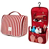 7Senses FLASH SALE! Hanging Toiletry Bag - Large Capacity Travel Bag for Women and Men - Toiletry Kit, Cosmetic Bag, Makeup Bag- Travel Accessories, Ruby Red
