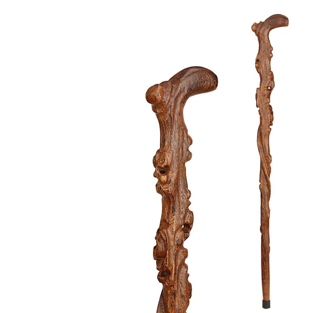 Yaxuan Walking Cane Form Twisted Hickory Handcrafted Wood Cane with Handle, Unisex Cane Natural Affordable Gift! 89cm