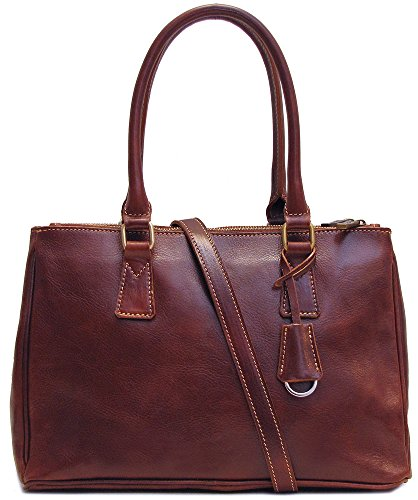 Floto Womens Custom Initials Personalization Roma Satchel Handbag in Brown