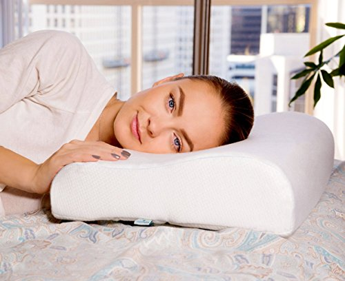 PharMeDoc Contour Memory Foam Pillow w/Cooling Gel Technology - Orthopedic Curved Support Pillow Design and Pain Relief - Hypoallergenic Material - Removable Pillow Cover