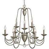 allen + roth Wintonburg 27.95-in 9-Light Brushed Nickel Williamsburg Candle Chandelier