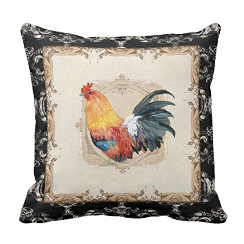 Rooster Toile Pillow - Emvency Throw Pillow Cover Vintage Style French Damask Black N White Rooster Decorative Pillow Case Watercolor Home Decor Square 18 x 18 Inch Cushion Pillowcase