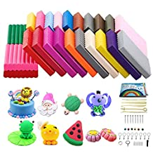 Polymer Clay, CiaraQ 24 Color DIY Creative Street Model Clay, Soft Molded Oven Baking Clay and Tutorial. Best gift for Children.