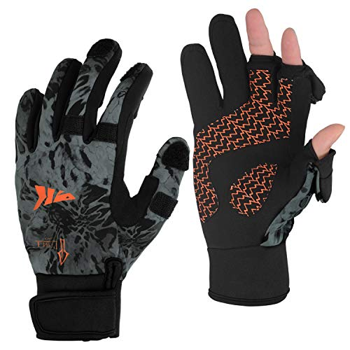 KastKing Mountain Mist Fishing Gloves - Cold Winter Weather Fishing Gloves - Fishing Gloves for Men and Women - Ideal as Ice Fishing, Photography, or Hunting Gloves(Blackout, Medium)
