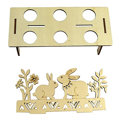 MALLOOM Wooden Creative Easter Egg Shelves Tray for Kids Bunny Hen Pattern Carry Hold Eggs (B) by MALLOOM (Image #3)