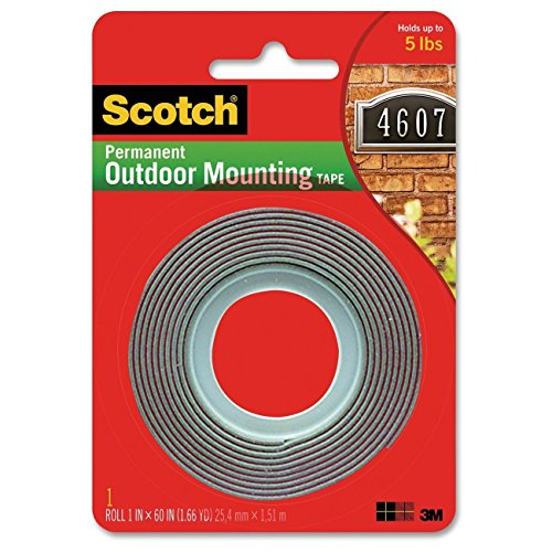3M Scotch 4011 Exterior Mounting Tape, 1 in x 60 in, 3-Pack